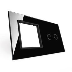 Podwójna czarna ramka szklana z miejscem włącznika dotykowego (702G-62) LIVOLO