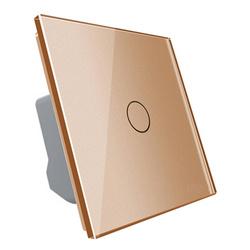 Włącznik pojedynczy dotykowy, bistabilny (impulsowy, dzwonkowy) ze złotym panelem szklanym FIBARO (VL-C701IH-63) LIVOLO