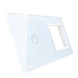 Podwójna biała ramka szklana z miejscem włącznika dotykowego (701G-61) LIVOLO