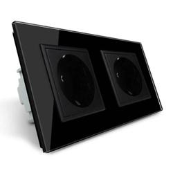 Gniazdo podwójne elektryczne 16A z czarnym panelem szklanym (VL-W02G-62) LIVOLO