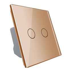 Włącznik podwójny dotykowy, bistabilny (impulsowy, dzwonkowy) ze złotym panelem szklanym FIBARO (VL-C702IH-63) LIVOLO