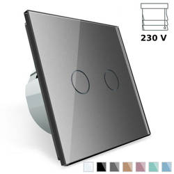Włącznik dotykowy roletowy ze srebrnym panelem szklanym (VL-C702W-64) LIVOLO
