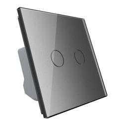 Włącznik podwójny dotykowy, bistabilny (impulsowy, dzwonkowy) ze srebrnym panelem szklanym FIBARO (VL-C702IH-64) LIVOLO