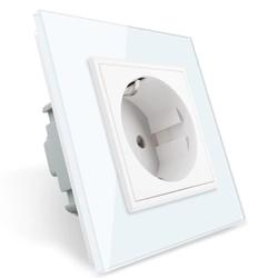Gniazdo elektryczne 16 A z białym panelem szklanym (VL-W01G-61) LIVOLO