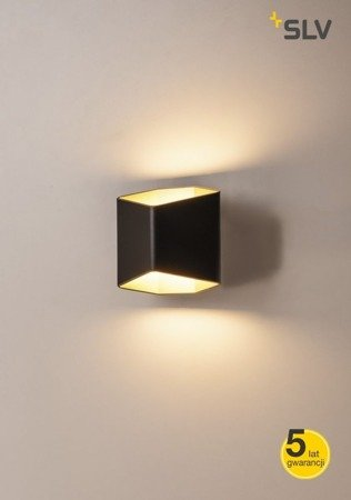 CARISO LED wall light 2, czarna/mosiądz, 7.6W COB LED, 3000K