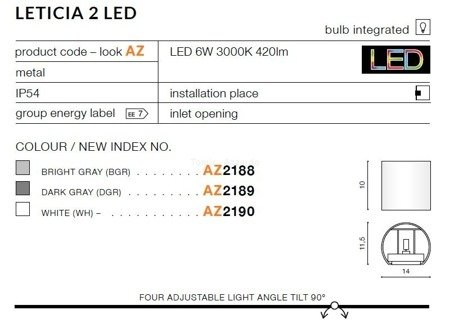 Kinkiet LETICIA 2 LED white (AZ 2190 | GW-A310-WH) - AZZARDO