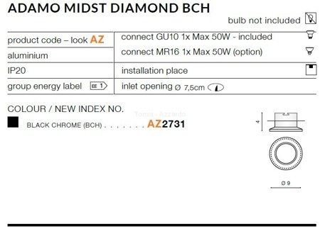 Lampa wpuszczana ADAMO MIDST DIAMOND black chrome (AZ 2731) - AZZARDO